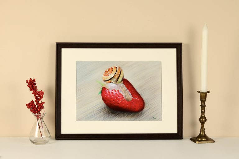 ' Snail eating strawberry '