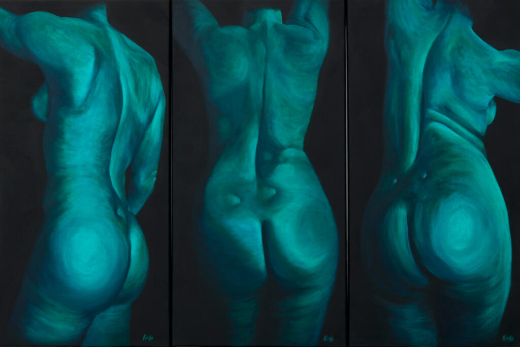 Blue AS triptych - acrylic painting