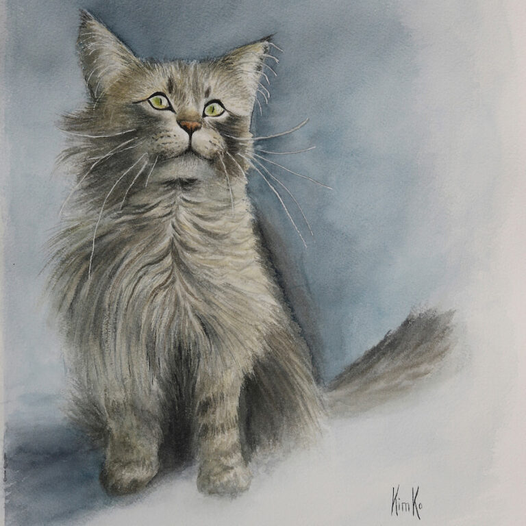 Neighbor kitty begging for bacon - watercolor