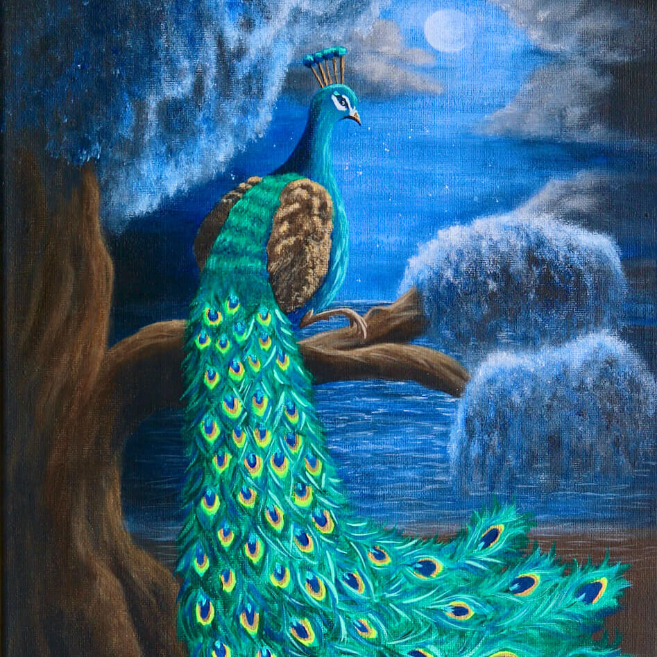 Peacock in moonlight - acrylic painting