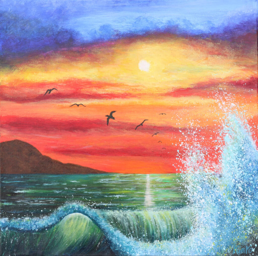 Sunset waves - acrylic painting. 25x25cm on canvas. Year 2019. €125