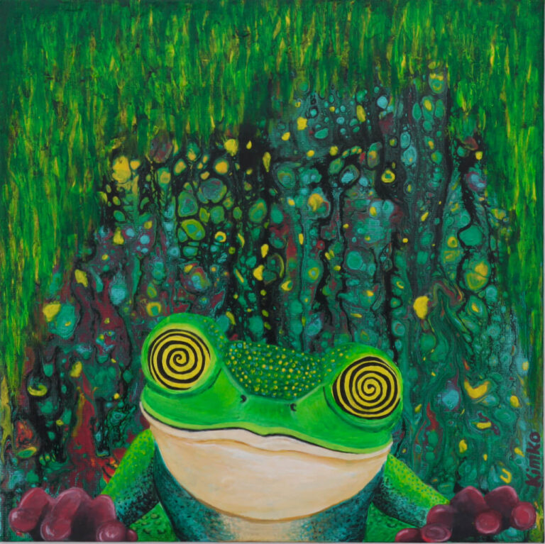Tripping frog - acrylic pour painting