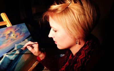 Me working on a painting.