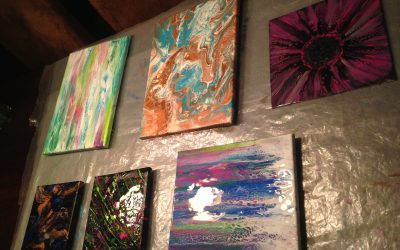 Paintings are drying over night.