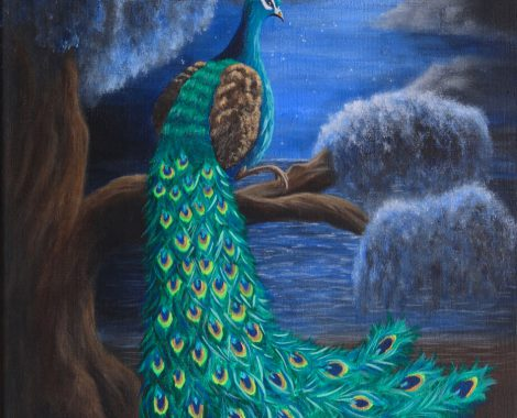 Sold! 'Wandering peacock in the light of the full moon'-light. Acrylic fine art 30x40cm canvas